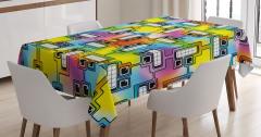 Rengarenk Robot Kafalar Desenli Masa Örtüsü Şık
