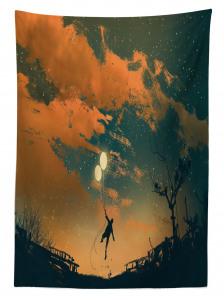 Balonlu Adam ve Gökyüzü Temalı Masa Örtüsü Turuncu