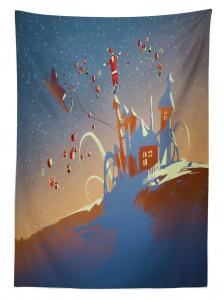 Noel Baba ve Hediyeleri Temalı Masa Örtüsü Mavi Şık
