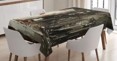 Şemsiyeli Kadın Temalı Masa Örtüsü Gri Şık Tasarım