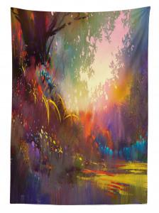 Orman Manzaralı Masa Örtüsü Ağaç Turuncu Çiçek Şık