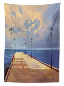 Köprü ve Gökyüzü Temalı Masa Örtüsü Sarı Mavi Deniz