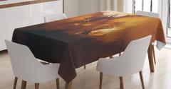 Ejderha ve Büyücü Temalı Masa Örtüsü Kahverengi