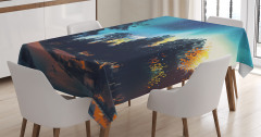 Yıldızlar Altındaki Orman Temalı Masa Örtüsü Mavi