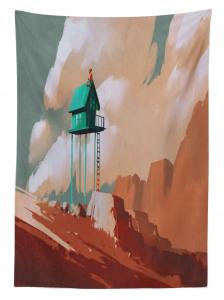 Yeşil Ev ve Gökyüzü Temalı Masa Örtüsü Kahverengi