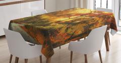 Orman Yolu Temalı Masa Örtüsü Turuncu Şık Tasarım