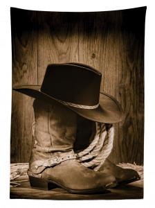 Kovboy Temalı Masa Örtüsü Şapka Çizme Kahverengi
