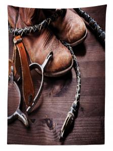 Kovboy Temalı Masa Örtüsü Çizme Çiftlik Kahverengi