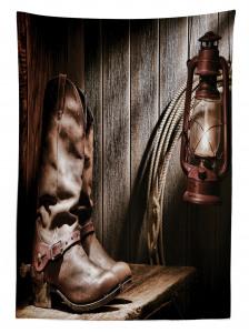 Kovboy Çizmesi ve Lamba Temalı Masa Örtüsü Kahve