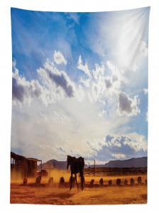 At ve Gökyüzü Temalı Masa Örtüsü Mavi Kahverengi