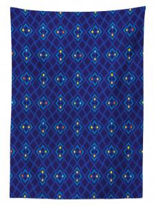 Şık Lacivert ve Mavi Desenli Masa Örtüsü Geometrik