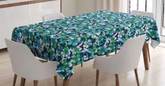 Yeşil Çiçekli Lacivert Desenli Masa Örtüsü Çeyizlik