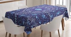 Mavi Çiçekli Lacivert Desenli Masa Örtüsü Çeyizlik