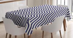Lacivert Beyaz Dalga Desenli Masa Örtüsü Dekoratif