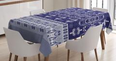 Lacivert Beyaz Desenli Masa Örtüsü Duvar Kağıdı