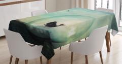 Küredeki Balina ve Uçak Desenli Masa Örtüsü Şık Mavi