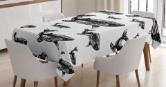 Kambur Balina Desenli Masa Örtüsü Siyah ve Beyaz
