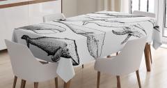 Siyah Beyaz Balina Desenli Masa Örtüsü Dekoratif