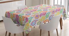 Rengarenk Şal Desenli Masa Örtüsü Çiçekli Dekoratif