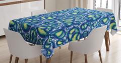 Damla Formlu Mavi Desenli Masa Örtüsü Şık Tasarım
