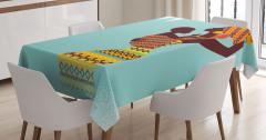 Afrikalı Anne ve Bebek Temalı Masa Örtüsü Mavi Sarı