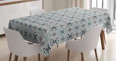 Çiçek Desenli Masa Örtüsü Gri Mavi Siyah Şık Tasarım