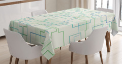 Geometrik Desenli Masa Örtüsü Yeşil Mavi Beyaz Şık