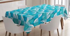 Geometrik Desenli Masa Örtüsü Mavi Beyaz Şık Tasarım