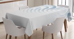 3D Etkili Masa Örtüsü Geometrik Desenli Mavi Beyaz