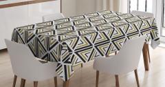 Üçgen Desenli Masa Örtüsü Siyah Beyaz Şık Tasarım