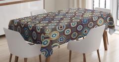 Puantiye Desenli Masa Örtüsü Kahverengi Şık Tasarım