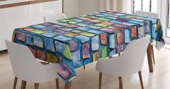 Mozaik Etkili Masa Örtüsü Mavi Şık Tasarım Kiremit
