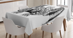 Deniz Canavarı Temalı Masa Örtüsü Siyah Beyaz Şık