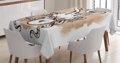 Kraken Temalı Masa Örtüsü Bej Şık Tasarım Ahtapot
