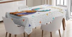 Rengarenk Boynuzlu Geyik Desenli Masa Örtüsü Şık