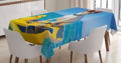 Sörfçü Köpek Temalı Masa Örtüsü Mavi Deniz Gökyüzü