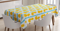 Çocuk İçin Masa Örtüsü Lastik Ördek Desenli Sarı