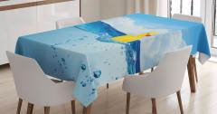 Suda Yüzen Lastik Ördek Temalı Masa Örtüsü Mavi Sarı
