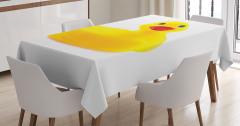 Lastik Ördek Desenli Masa Örtüsü Sarı Beyaz Fonlu