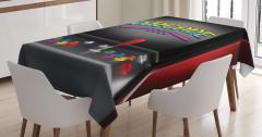 Nostaljik Oyun Makinesi Temalı Masa Örtüsü Siyah