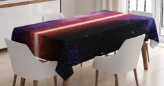 Işın Kılıcı Desenli Masa Örtüsü Uzay Temalı Kırmızı