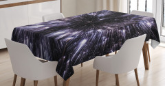 Yıldızlar ve Uzay Temalı Masa Örtüsü Gri Siyah Şık