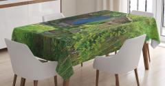 Ağaç Ev Manzaralı Masa Örtüsü Yeşil Yaprak Doğa