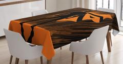 Süper Kahraman Temalı Masa Örtüsü Turuncu Siyah Şık