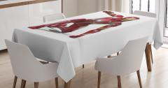 Fantastik Temalı Masa Örtüsü Kırmızı Beyaz Trend