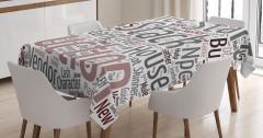 Yazı Desenli Masa Örtüsü Gri Pembe Şık Tasarım Trend