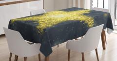 Altın Yıldız Desenli Masa Örtüsü Sarı Parlak Şık