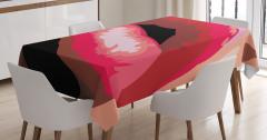 Kırmızı Ruj Temalı Masa Örtüsü Dudak Makyaj Kadın