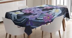 Mor Çiçek Temalı Masa Örtüsü Doğa Çeyizlik Trend