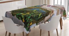 Su ve Yaprak Temalı Masa Örtüsü Doğa Taş Şık Tasarım